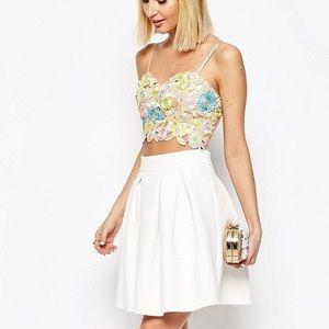 ASOS Miami Scuba Box Pleat A-Like Textured Skirt